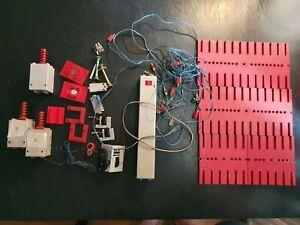 Fischertechnik motors, battery box, baseplates, wires, gears