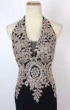 New Authentic Jovani JVN31492 Black Halter Prom Cruise Women Gown Dress 8