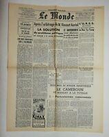 N754 La Une Du Journal Le Monde 4 octobre 1949 Vincent auriol, gouvernement