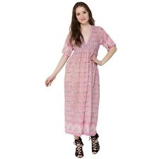 karni indian gauze dress pink peacock print Vyoke design vintage look maxi gown