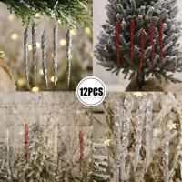 Set of 12 Icicle Stripe Christmas Xmas Hanging Tree Decorations DIY Ornaments