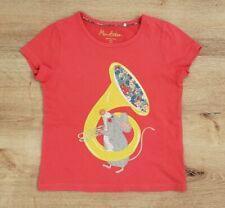 Mini Boden Girls Mouse Applique T Shirt Size 4-5 Soft Red 100% Soft Cotton
