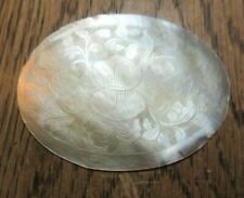 ANTIQUE CHINESE CARVED  MOTHER OF PEARL  OVAL PANEL FLORAL