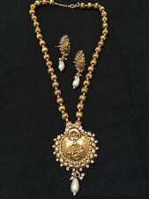 Indian Costume Jewellery for Saree Gold Tone Necklace and Earring Set