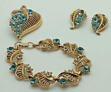 Lisner Topaz Blue Rhinestones Semi Parure Set Bracelet Brooch Clip Earrings