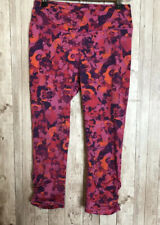 Women's Gaiam Pink Floral Abstract Cropped Ruched Yoga Exercise Pants Size Small