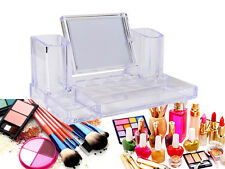 GLAM COSMETIC CLEAR ACRYLIC MAKEUP LIPSTICK ORGANISER NAIL VARNISH RACK W MIRROR