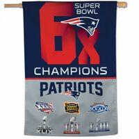 "NFL New England Patriots Wincraft 6X Super Bowl Champs 28"" X 40"" Vertical Flag"