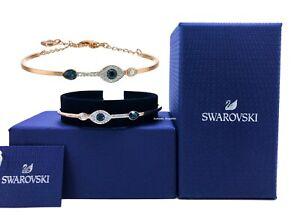 NEW Authentic SWAROVSKI Rose Gold Crystal Pave Evil Eye Bangle Bracelet 5171991