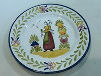 "VTG Sur La Table Handpainted Portugal Dinner Plate, Woman with Flower, 10"" D"