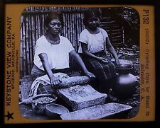 El Salvador, Hand Grinding Corn, - Antique Magic Lantern Glass Slide