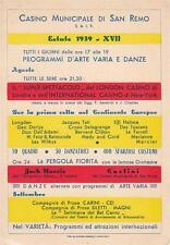 A9416) CASINO MUNICIPALE DI SAN REMO (IMPERIA), PROGRAMMI ESTATE 1939.