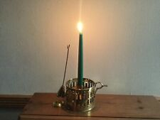 More details for solid brass candle holder with candle snuffer