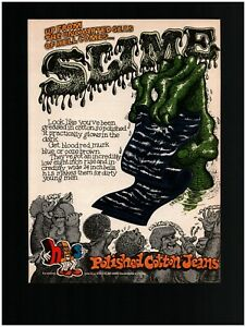 1968 h.i.s. Polished Cotton Jeans Original Print Ad ~ Free Ship ~ R. Crumb Art?