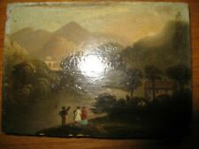 Miniature landscape painting in oils on wooden panel Georgian 18th  19th century