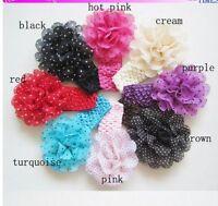 Chiffon Dot  Flowers Baby Headband Knit Elastic Hairband Colour BLUE