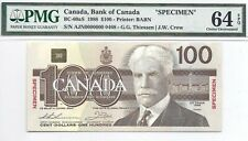 1988 Bird Series Specimen $100 Note, AJN0000000, BC-60aS, PMG Ch. Unc-64, EPQ!