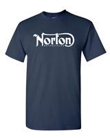 NORTON MOTORCYCLE Classic Logo Racing Men's White Black T-Shirt Size S-3XL