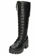 Black Brown Chunky Heel Platform Gothic Punk Knee High Mid Combat Lace Up Boots
