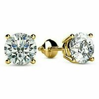 Gorgeous 2.00 Ct Round Sparkle Moissanite Stud Earrings 14K Yellow Gold Finish