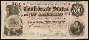 1864 $500 DOLLAR CONFEDERATE STATES NOTE CIVIL WAR CURRENCY PAPER MONEY T-64