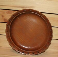 Vintage hand made turned wood wall hanging plate