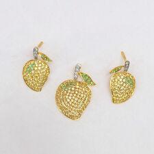Sapphire Gemstone Dangle Earrings Diamond Pave Pendant 18K Yellow Gold Jewelry