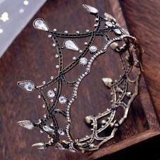 Baroque Queen Black Wedding Tiaras Pageant Crystal Crown Bridal Hair Accessories