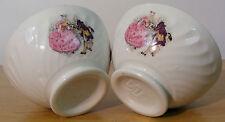 2 bols anciens 40 cl à cannelures faïence Sarreguemines décors romantiques