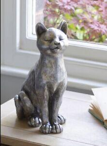 Next Large Cat Sculpture Figure Ornament Silver Home Decor Gift Bnwts