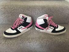 Womens Girls Fila Foggia Hi High Top Trainers Pink White UK 6