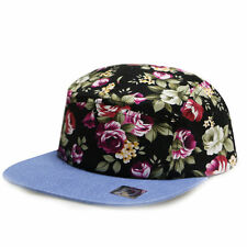 2 TONE BLACK FLORAL DENIM BILL 5 PANEL CAMPER HAT CAP ADJUSTABLE HAWAIIAN FLOWER