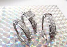 Engagement Wedding Bridal CZ Ring Set Sterling Silver 925 Her 7 His 11 TR1939