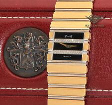 Piaget Polo 18k Yellow/White Gold Black Diamond Dial Quartz Watch +Box 7131 C701