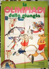 manifesto 2F originale LE OLIMPIADI DELLA GIUNGLA film d'animazione 1980