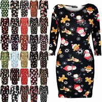 Womens Ladies Christmas Xmas Reindeer Santa Snowflake Rudolph Mini Bodycon Dress