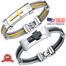 Men's Stainless Steel Two Tone Twisted Rope Cable Cross Bracelet