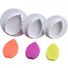 Hot 3pcs Cake Leaf Rose leaves Plunger Fondant Decorating Sugarcraft Mold Cutter
