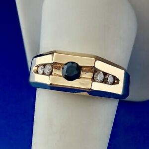 Men's 14K Yellow Gold Diamond Sapphire Modern Ring Size 10