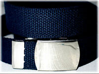 """CANVAS NAVY Military Web Fabric Belt SILVER Metal Buckle X-Wide 1 1/2"""" x 45"""""""