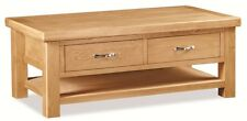 Harlyn Oak Coffee Table with Drawer and Shelf / Light Oak Handcrafted Table