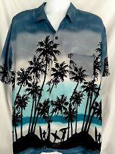 Pineapple Connection Hawaiian Shirt Silhouettes Surfers Palm Trees Men's Sz L