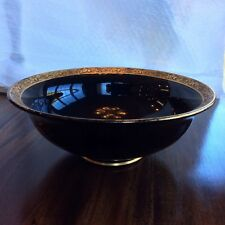 Tiffin Gold Encrusted Elegant Black Glass Compote Bowl 8-1/2""