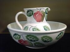 Pitcher & Bowl Set Orchard Pattern Original Stickers Made In Italy By Roma Inc
