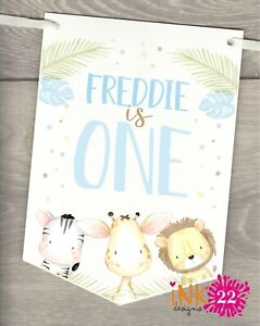 Personalised Birthday Party Decoration Banner bunting Jungle Animals 1st 2nd 3rd