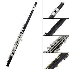 Luxury Flute Set - Copper 16 Keys Hole C Flute & PU Black Case Box Kit - Black