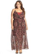 Womens Junarose Dress Size 14 Racerback Maxi Dress Chiffon Burgundy, Black NWT