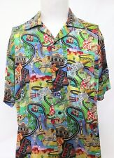 Nicole Miller Limited Edition Route 66 Big Boy Mens Silk Shirt Size Extra Small