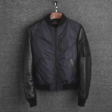 New Men's Quilted Bomber Jacket With Real Lambskin Leather Sleeve Close Size M