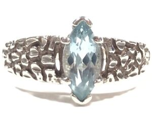 Beautiful Ladies Sterling Silver Blue Topaz Nugget Ring - Signed Kabana Sz 8.25